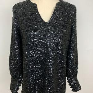Vintage Valentina LTD Black Sequin Blouse